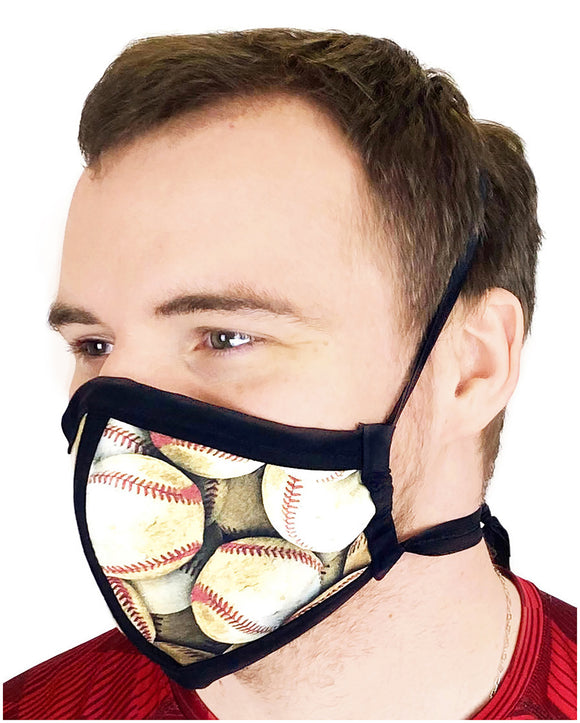 HARD EDGE DESIGN Made in USA Four Layer Cloth Face Mask - Ear Saver Behind the Head Elastic - Baseball, Adult