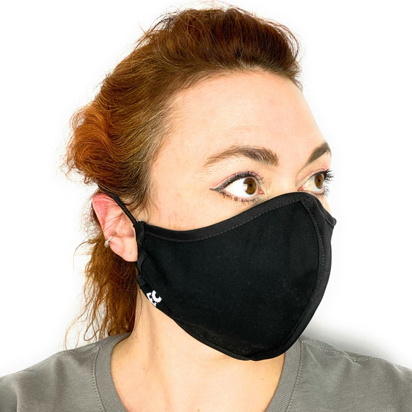 HARD EDGE DESIGN Made in USA Four Layer Cloth Face Mask - Ear Saver Behind the Head Elastic - Adult, Curvy Cut