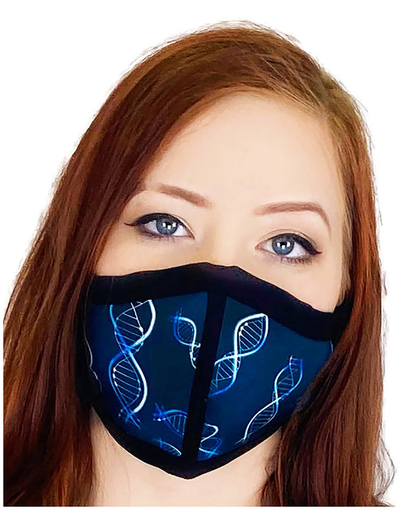 HARD EDGE DESIGN Made in USA Four Layer Cloth Face Mask - Ear Saver Behind the Head Elastic - Life Science, Adult