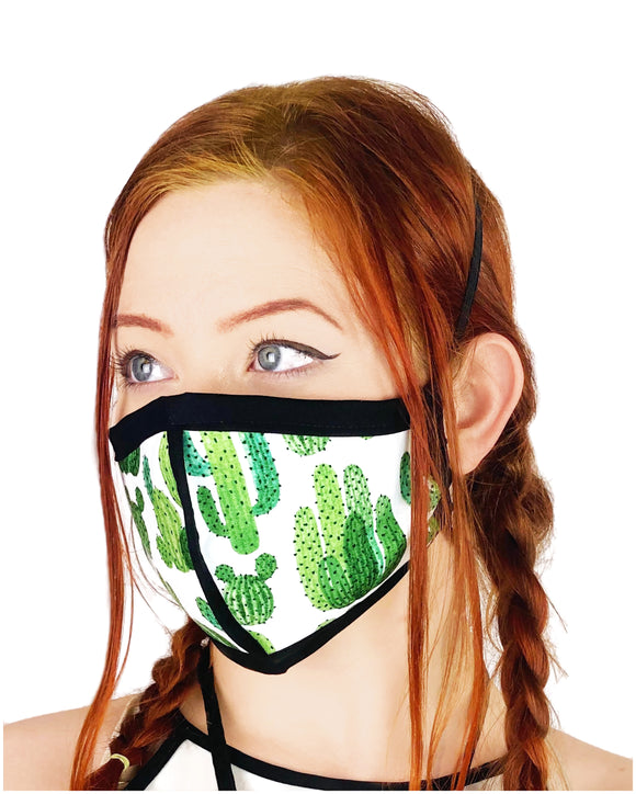 Four Layer Cloth Face Mask - Ear Saver Behind the Head Elastic - Cactus, Adult Original Cut