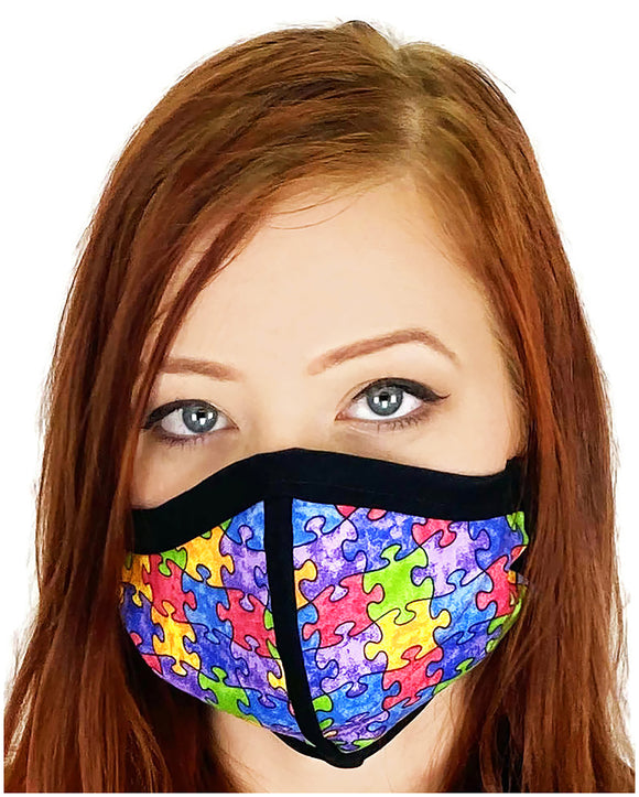 Four Layer Cloth Face Mask - Ear Saver Behind the Head Elastic - Puzzle, Adult Original Cut