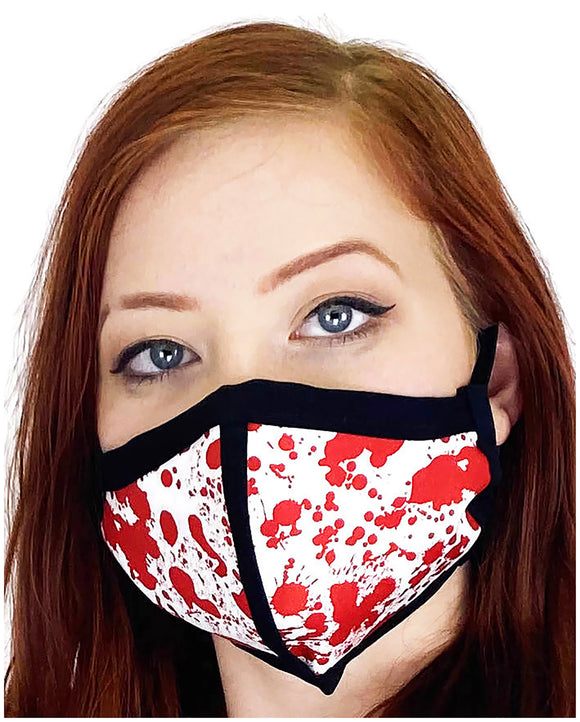 Four Layer Cloth Face Mask - Ear Saver Behind the Head Elastic - Splatter, Adult Original Cut
