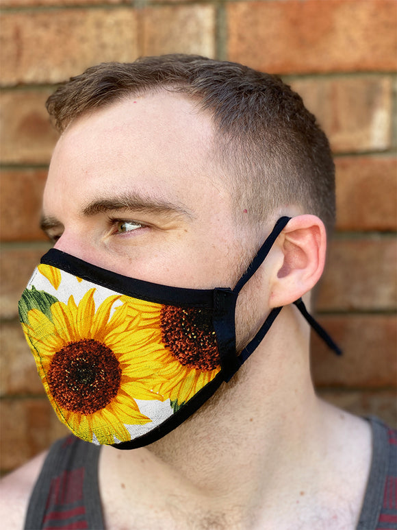 Four Layer Fully Wired Protective Cloth Face Mask - Made in USA - Sunflower, Adult