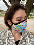 Two Layer Fully Wired Protective Cloth Face Mask - Made in USA - Pastel Tie-Dye, Adult