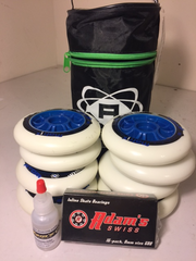 8-Atom Matrix 90mm/86a wheels, 16 Adams Swiss bearings, FREE lube, FREE bag.