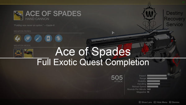 Ace of Spades Exotic Quest Completion - Destiny 2 Trials of Osiris Spare | DestinyRecoveryService | Destiny Recovery Service | Season of Arrivals | Shadowkeep |