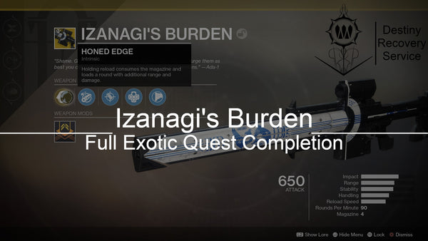 Izanagi's Burden Full Exotic Quest Completion - Destiny 2 Trials of Osiris Spare | DestinyRecoveryService | Destiny Recovery Service | Season of Arrivals | Shadowkeep |