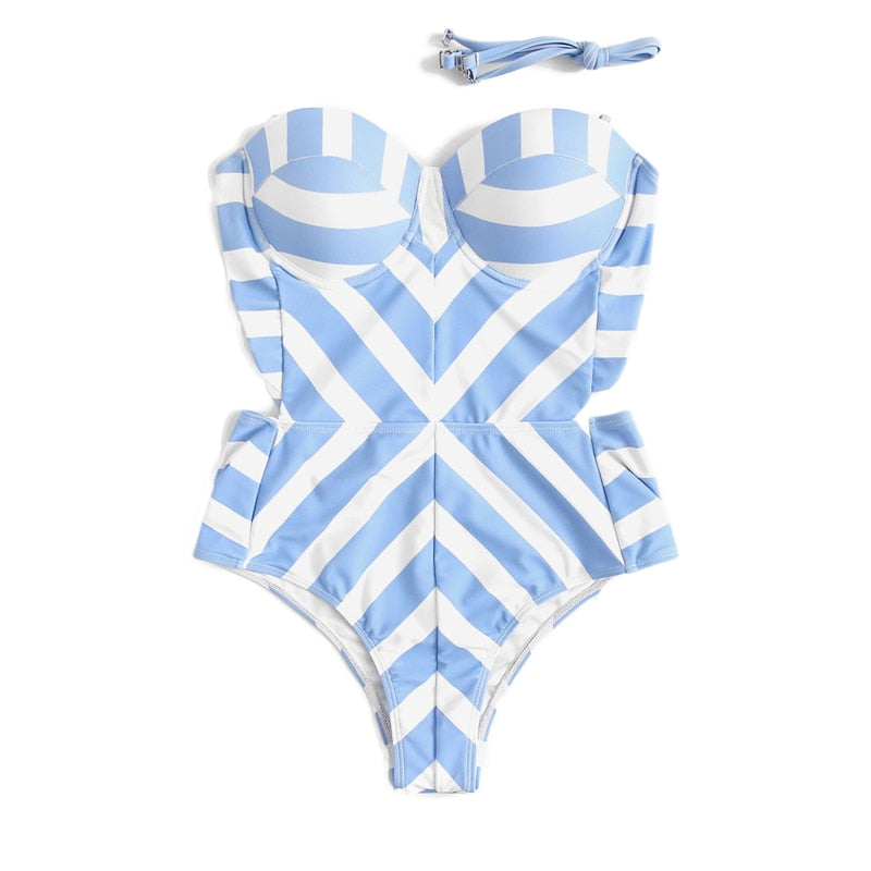 Colrovie Geometric One-Piece Bathing Suit