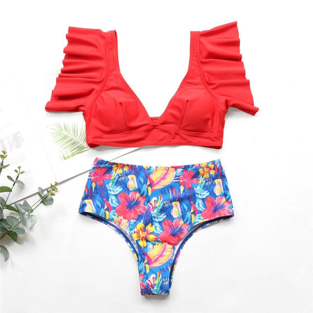Summer Ruffle Two-Piece Bikini Tankini Combo