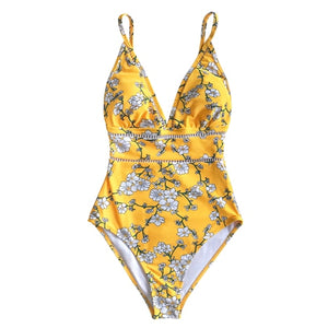 Sexy Yellow Pear Blossom Floral Print Swimsuit