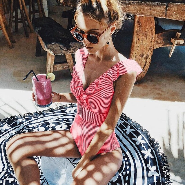 Ruffled Mini Stripes One-Piece Bathing Suit