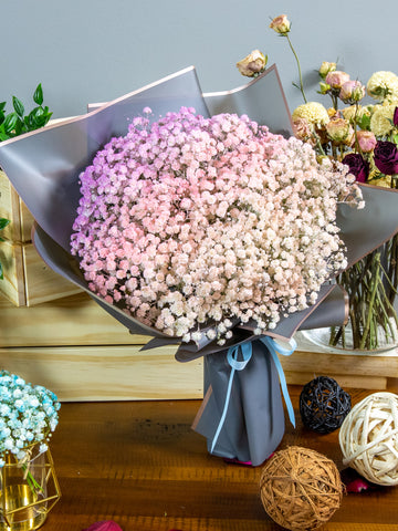 Coloured baby's breath bouquet