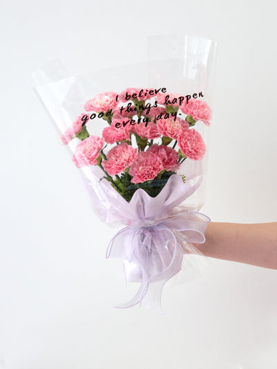 15 pink carnations bouquet