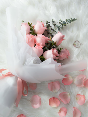9 stalks of pink roses and foliage bouquet