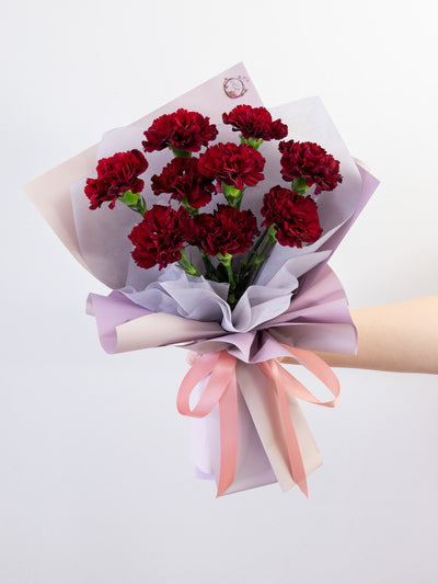 Dark red carnation bouquet