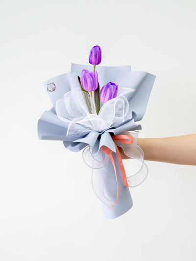 3 purple tulips bouquet