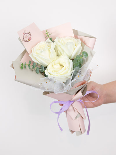 hand bouquet white roses and eucalyptus baby blue leaves