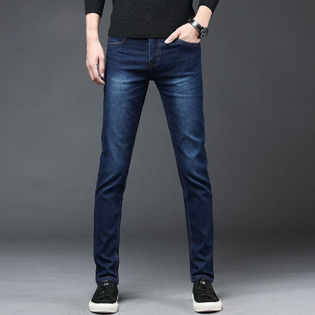 2020 New Arrival Men's Denim Jeans Straight Full Length Pants with High Elasticity Slim Pants Man Fashion Mid-waist Jeans men
