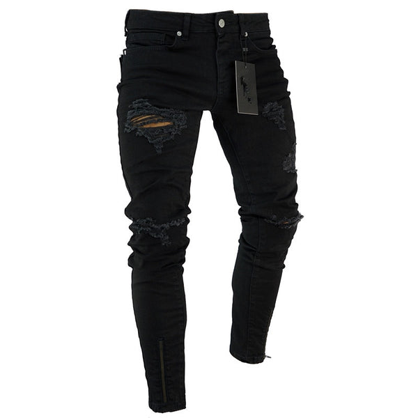 2019 Black Stretch Skinny Fit Bottom zipper Jeans Men Knee Ripped Distressed Hole biker jeans Pants Hip Hop Street Big Size XXXL