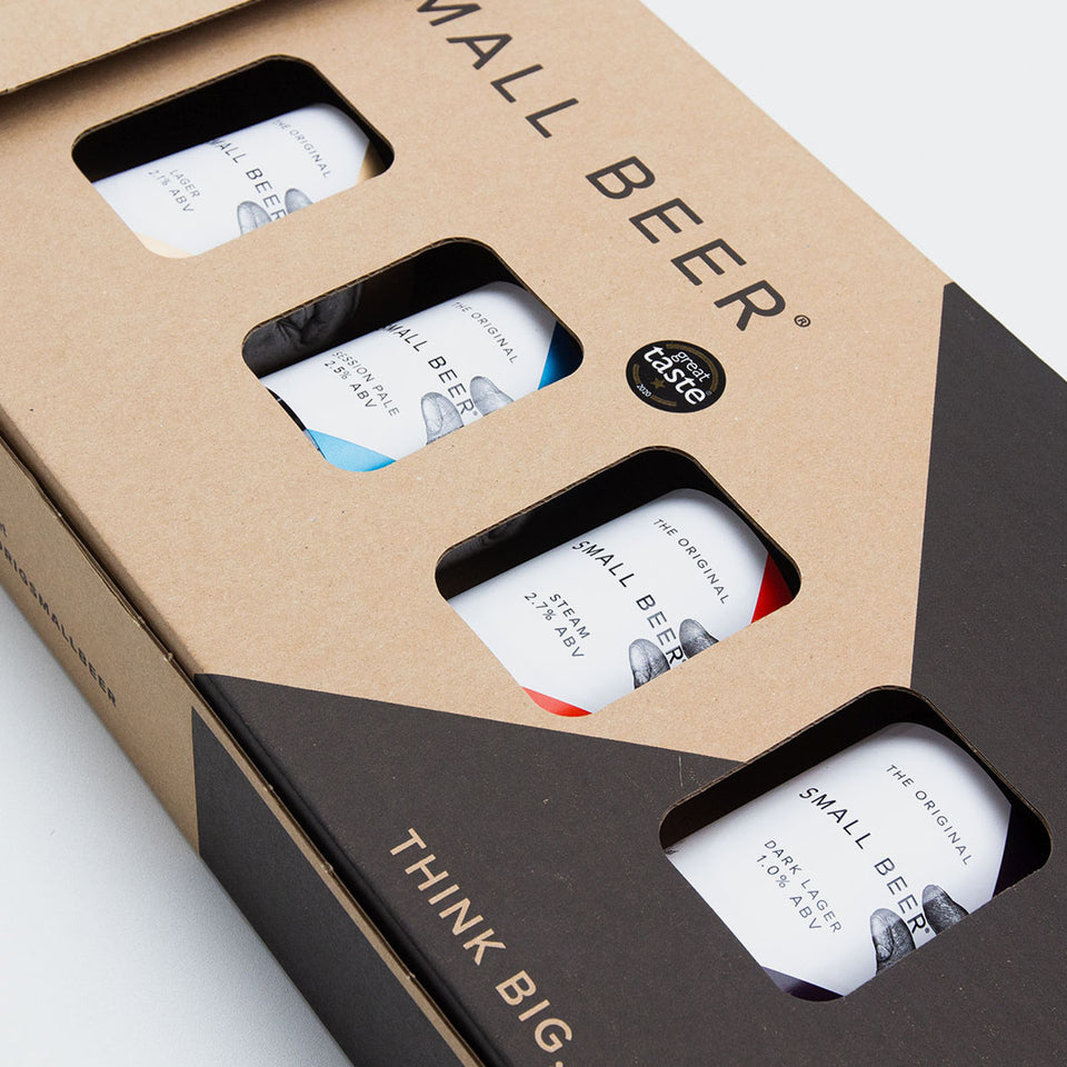 New Small Beer Gift Pack with two branded half pint glasses