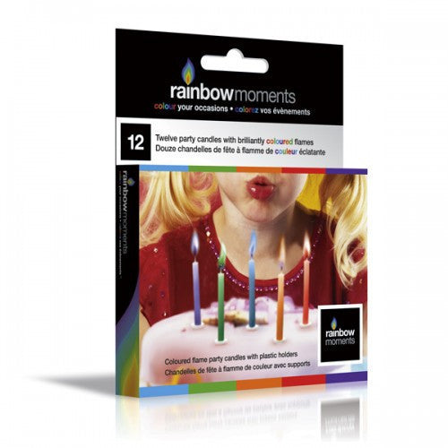 Coloured Flame Birthday Candles 12 Pack