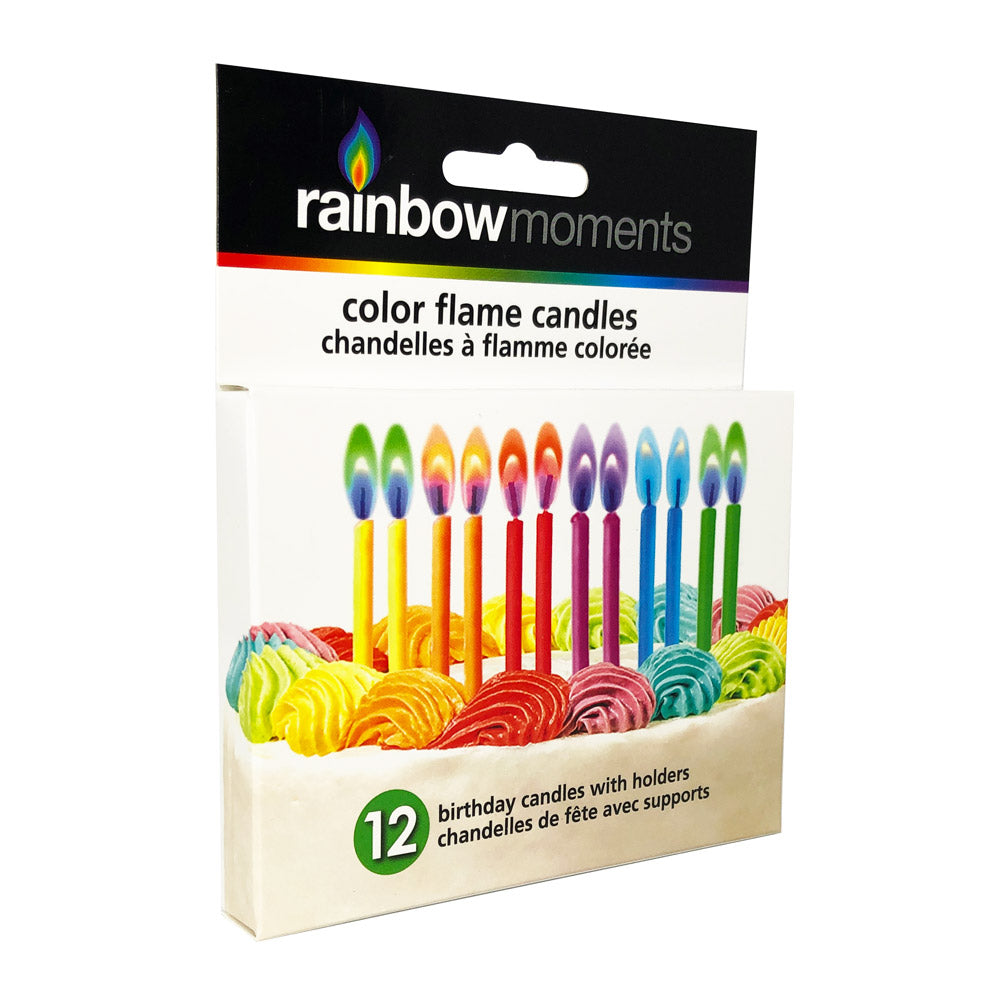Color Flame Birthday Candles – Rainbow Assortment (12-pk)