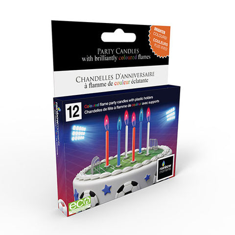 Sporty Coloured Flame Birthday Candles (12 Pack)