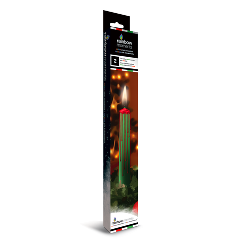 Magic Colour Drip Christmas Candle - Green with Red Drip