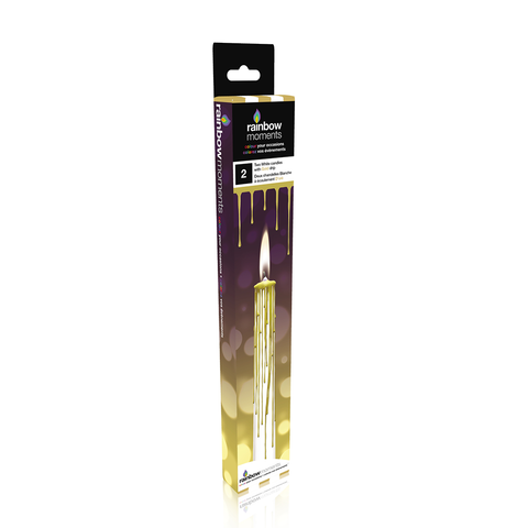 Magic Colour Drip Candles – White with Gold Drip