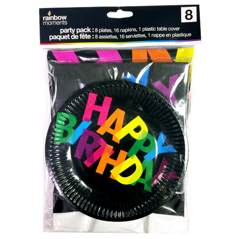 Tableware Kit for 8 – Black Birthday Theme