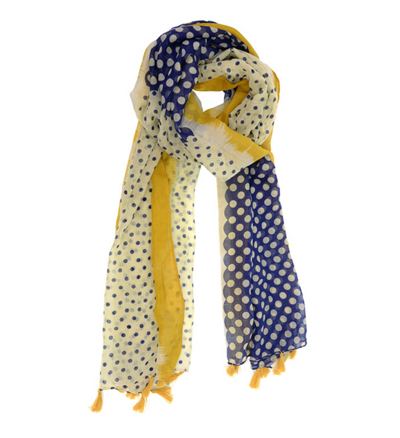 Color Block Polka Dot Tassel Scarf
