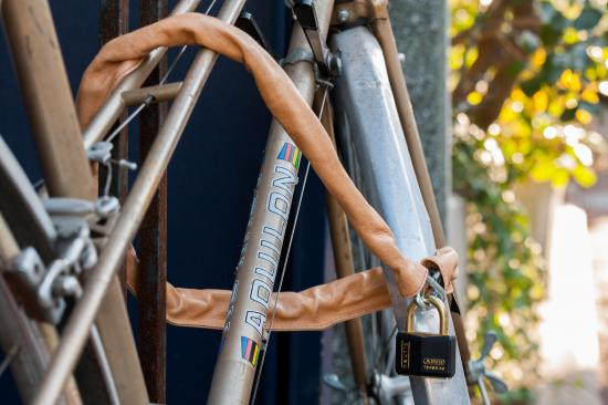 Leather cycle chain lock