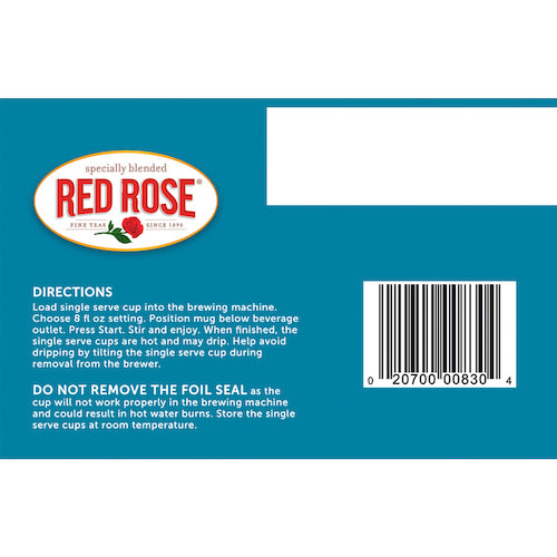 Red Rose Original Black Tea Single Serve Pods - 12ct
