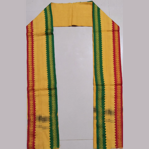 Ganga Jamuna Border Gamchas / Angavastram - 2Pcs Set (Yellow & Khaki)