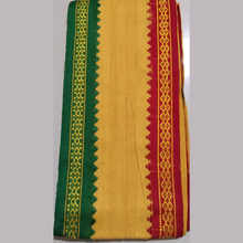 Load image into Gallery viewer, Ganga Jamuna Border Gamchas / Angavastram - 2Pcs Set (Yellow & Khaki)