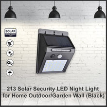 Load image into Gallery viewer, 213 Solar Security LED Night Light for Home Outdoor/Garden Wall (Black) (20-LED Lights)