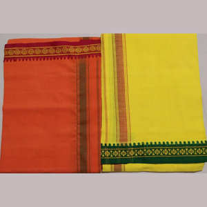 Fancy Border Colored Dhoti - 2 Pcs Set (Yellow & Orange)