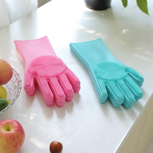 Reusable Silicone Cleaning Gloves (Multicolor)