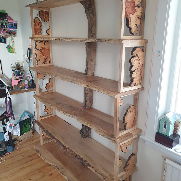 Shelving Unit using clients sycamore and hawthorn slices