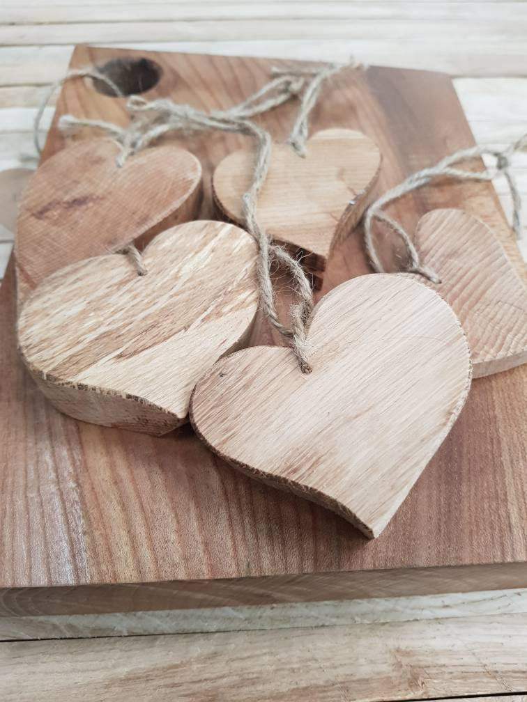 Chunky wooden hearts