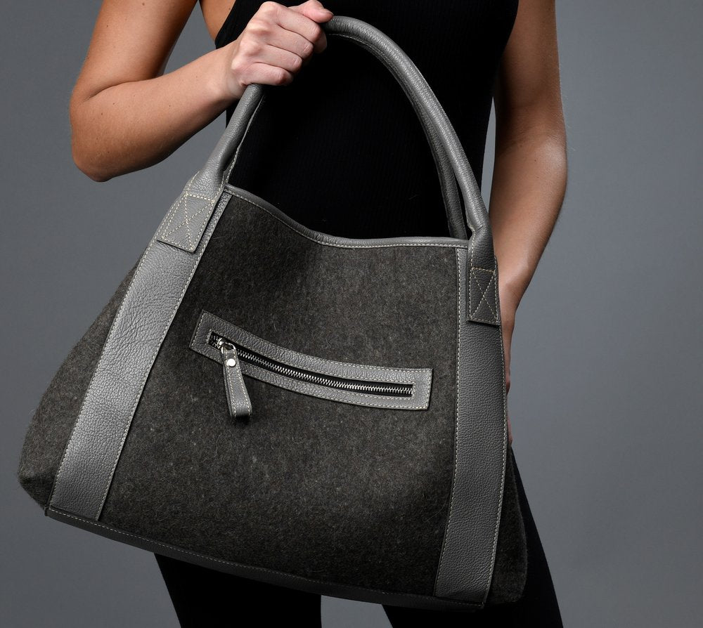 Felted Tote with Leather detail