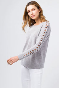 Kinross Cashmere Braided Sleeve Top