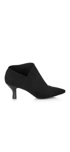 Pointy Toe Bootie with kitten Heel micro suede
