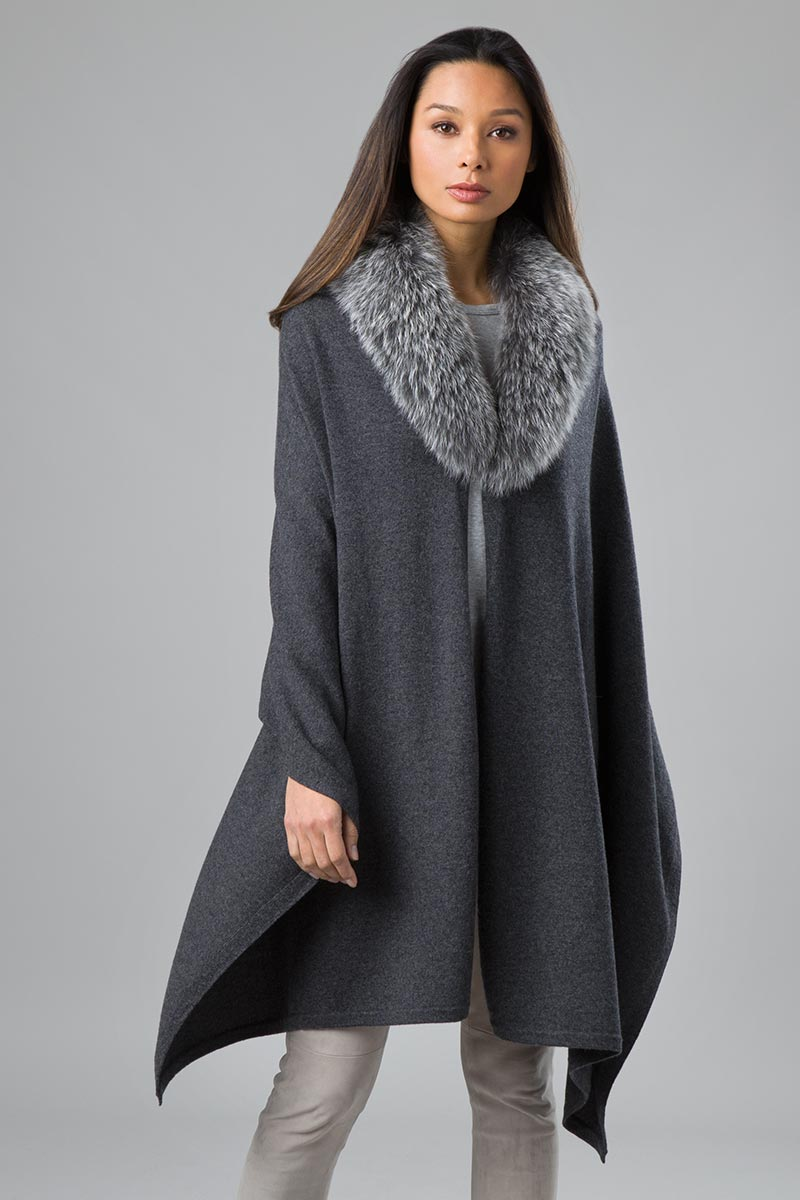 Kinross Cashmere Fur Trim Wrap - Black