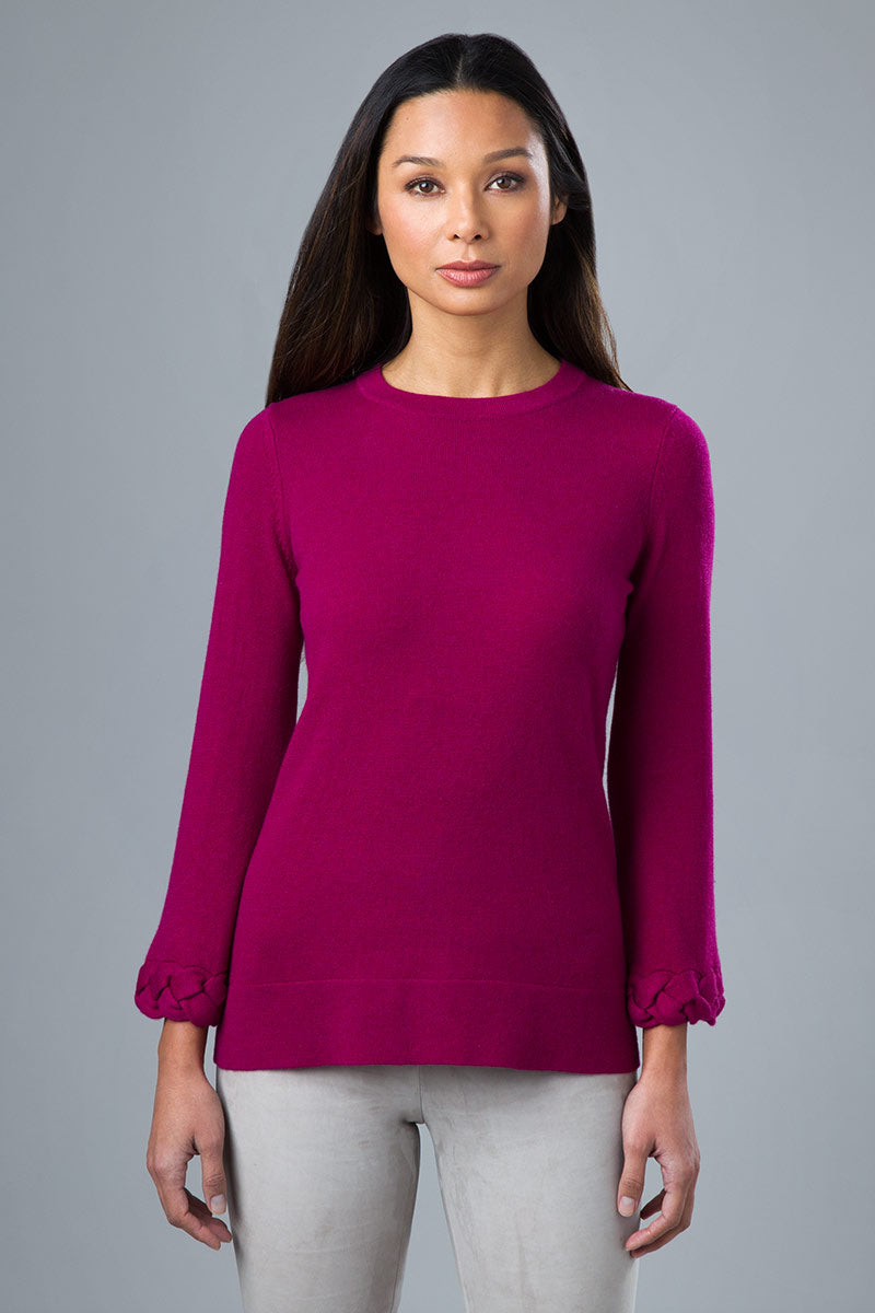 Kinross Cashmere Cable Cuff Pullover Sweater