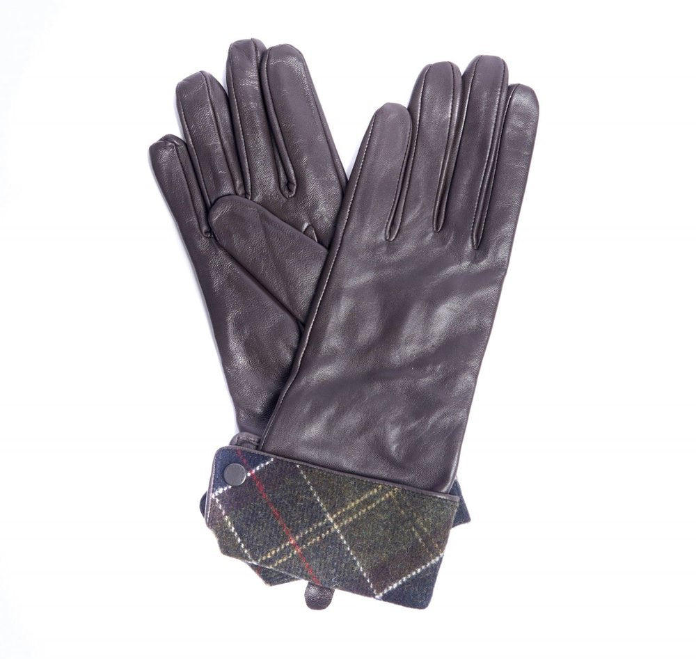 Barbour Lady Jane Leather Gloves Brown