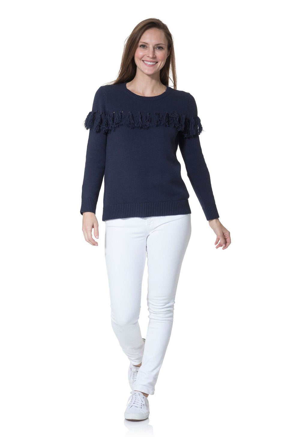 Sail to Sable Cotton Tassel Front Sweater Navy