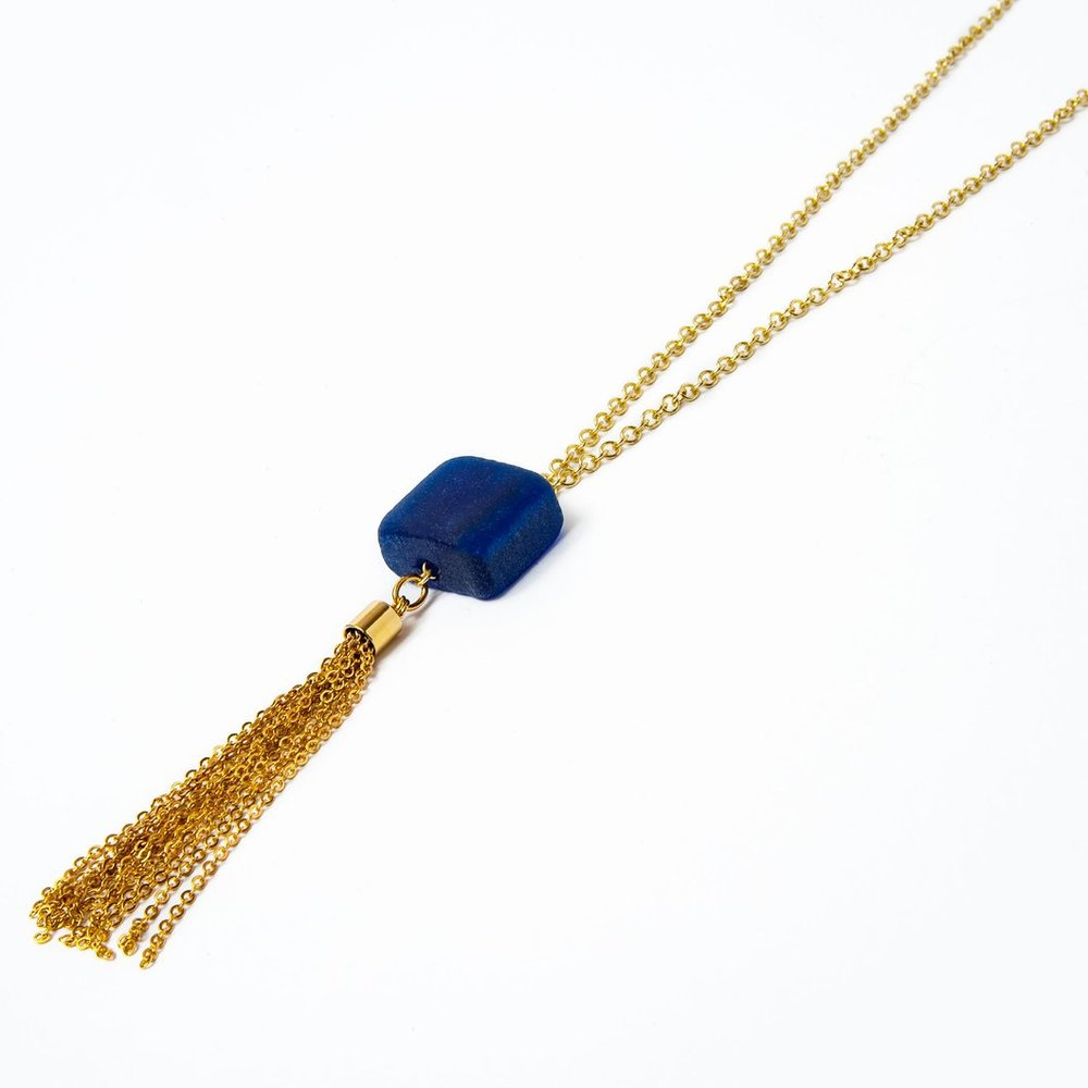 Cube Long Tassel Necklace Smart Glass