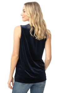 V-neck Navy Velvet Top