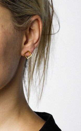 Square stud gold plate earrings